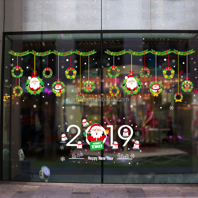 2019 Removable Eco-friendly PVC sticker for christmas window decoration sticker