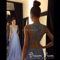 Amazing A Line Scoop Neck Floor Length Full Beads Scoop Neck Prom Dress Custom Made Sheer Back Ligth Blue Chiffon Dress