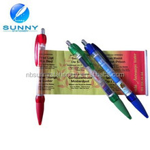 2015 hot sale cheap promotional advertising slogan pen,flag pen, pull out banner pen