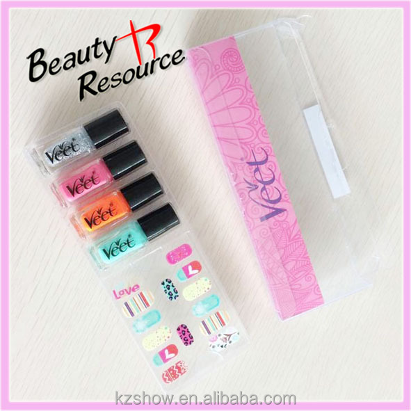2014 New High Quality Hot Sale Mini Nail Polish and Nail Sticker Gift Set