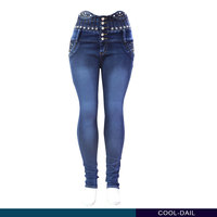 latest design high waist narrow bottom beaded jeans for women wholesale