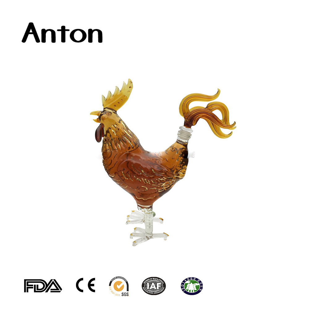 Wholesale Chinese Zodiac chicken cock shape craft and wine glass bottle