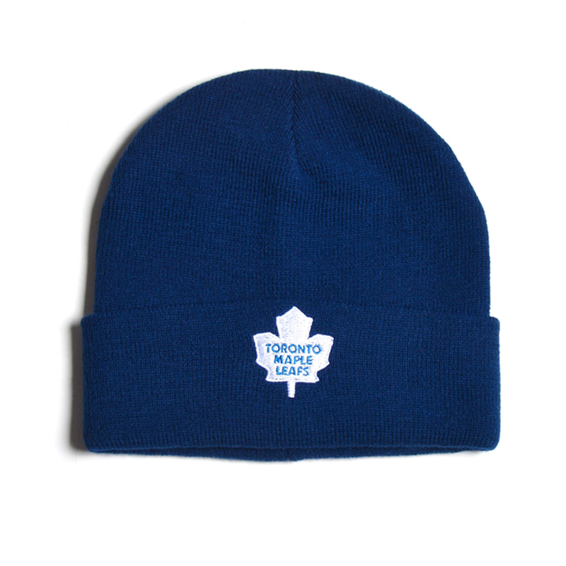 Designer maple leaf embroidery navy blue sports ski beanie hat