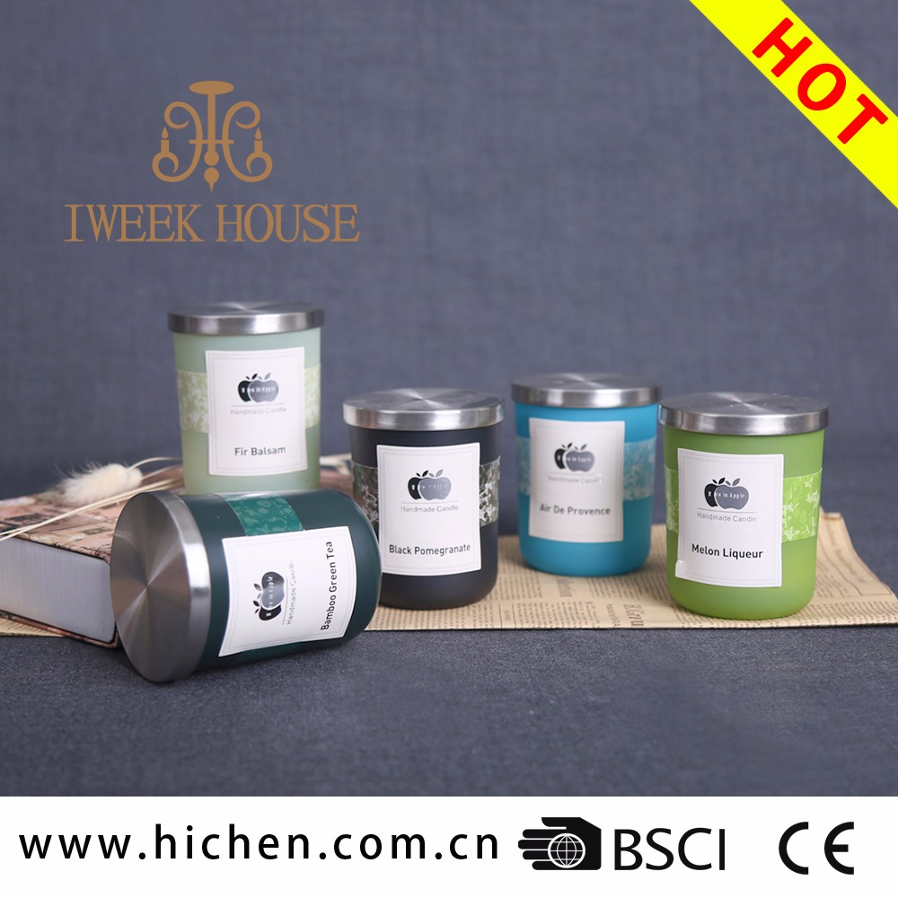 New style scented candles with stainless steel lid in ceramic cup for home decoration