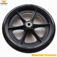 8x1 plastic solid PU complete wheel 8''
