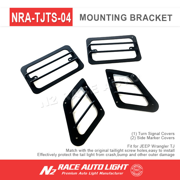 N2 Best 97-06 Jeep Wrangler TJ Marker Lights Guard and Turn Signal Euro Guard with Black Powder Coat