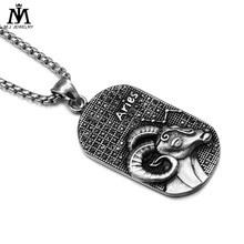 Fashion Casting Stainless Steel Dog Tag 12 Zodiac Sign Men Aries Pendant Jewelry Necklaces