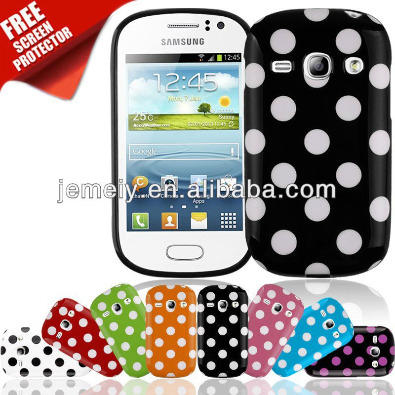 polka dot leather case battery cover for samsung galaxy fame s6810