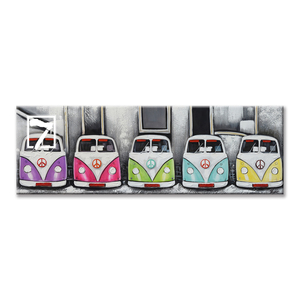 Oil Painting Kombi Van Collection Handmade Acrylic Painting Framed for Children Room