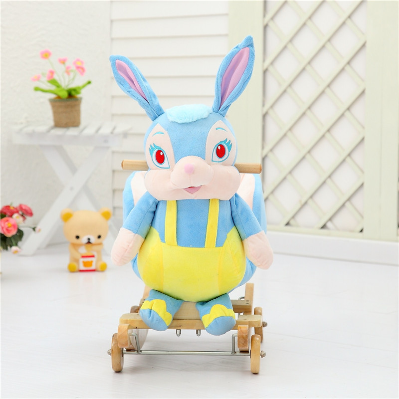 lovely promotional customized stuffed plush rocking lapin/rabbit animal chair with music&wooden base