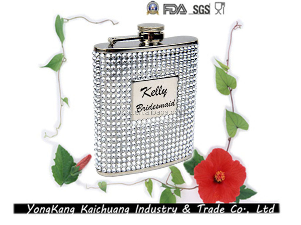 7oz Leather Wrapped Stainless Steel Designer Plastic Liquor Hip Flask