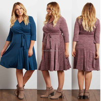 Sexy Club Dresses Heathered Sash Tie Draped V-neckline Maternity Belt Breathable Plus Dresses