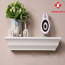 2017 promotion antique curved MDF wooden mantel wall shelf for decoration