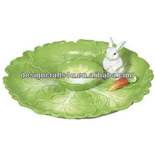 Cabbage and Rabbit Porcelain Chip and Dip