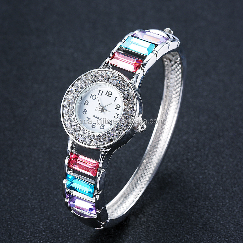 Colorful diamond girls bracelet watch japan movt quartz watch alloy back