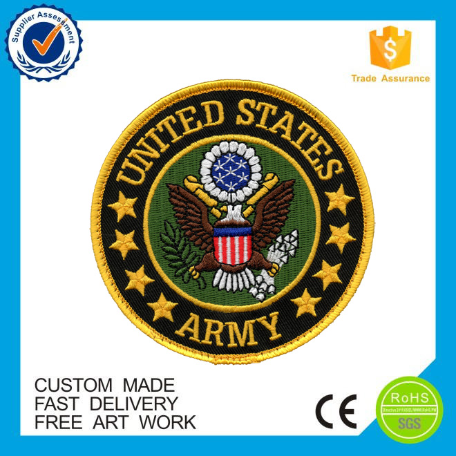 high quality round shape Custom iron on embroidered patches