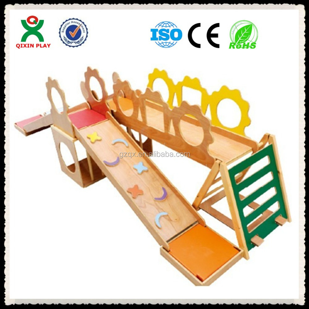 2015 Safe EU Standard wood indoor playground equipment/indoor wooden slide/wooden playsets QX-11060F