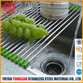 Wholesale Reusable Kitchen Stainless steel silicone rolling sink rack