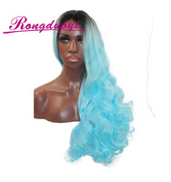 Ombre Black to Blue Body Wave Long Woman Synthetic Fashion Top Quality Halloween Wig