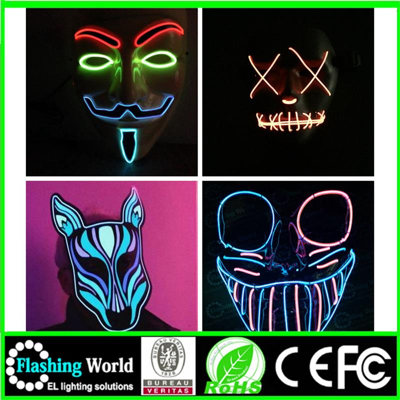 hot selling neon usa flashing face paintball mask