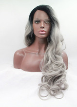 long length body wave grey color synthetic front lace wigs