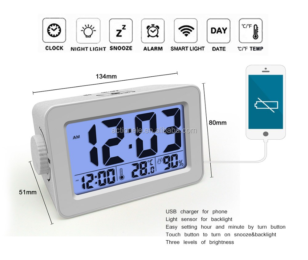 Cute Design Digital Alarm Snooze Smart LED Clock With USB Charger For Phone & Night Light Sensor