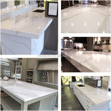 White quartz stone coffee table / marble stone shiny table top for coffee shop