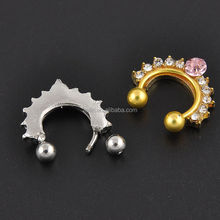 316L SS Septum Clicker With 2 Balls Fake Nose Hoop Body Jewelry