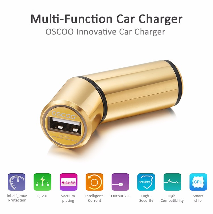 OSCOO Portable car charger intelligent mobile phone car charger for iphone and android