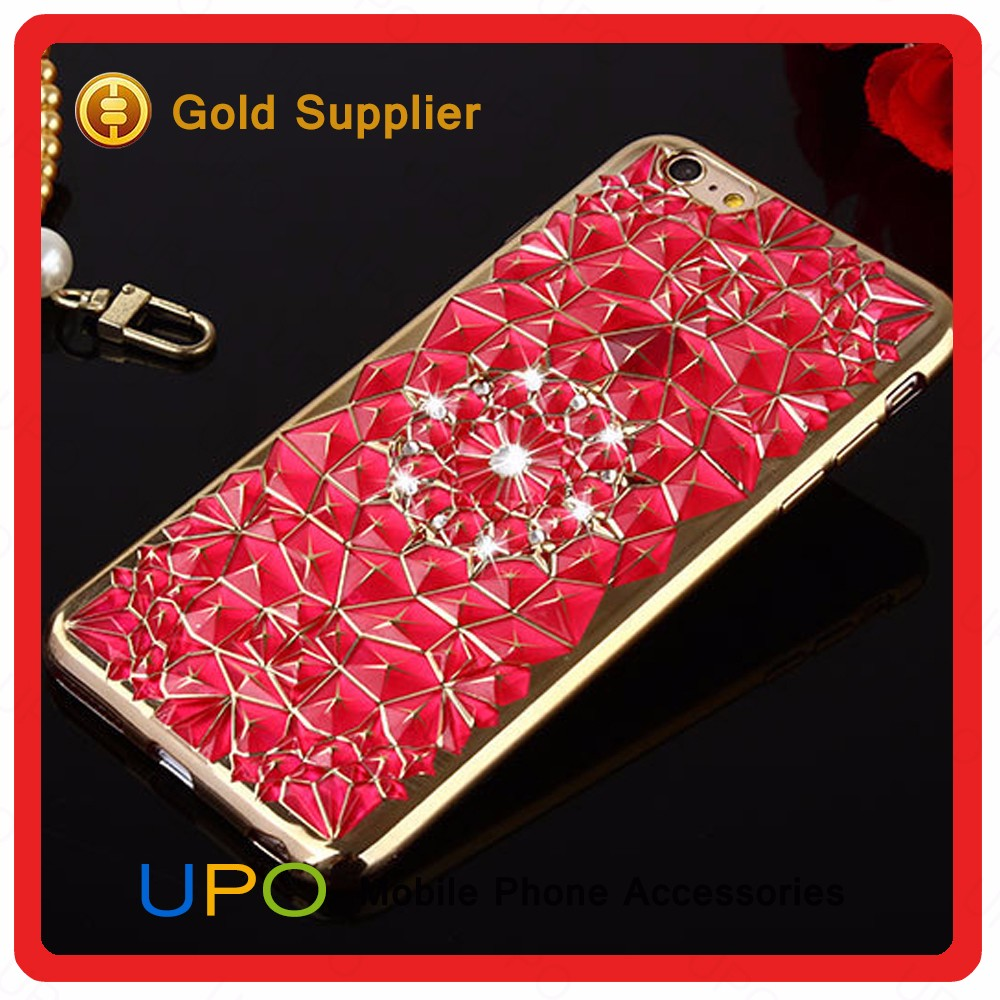 [UPO] Bling 3D Sunflower Diamond Soft Clear TPU Electroplating Bumper Cell Phone Case for iPhone 7 Covers