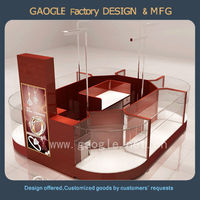 wooden glass round glass display case with lights