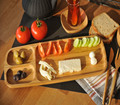 3 Part Entertainment Set and Snack, Sauce, Appetizer and Breakfast Bamboo Wood Plate