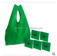 190T Polyester Customized Foldable Shopping Bag Green Fold Up Reuseable Bag
