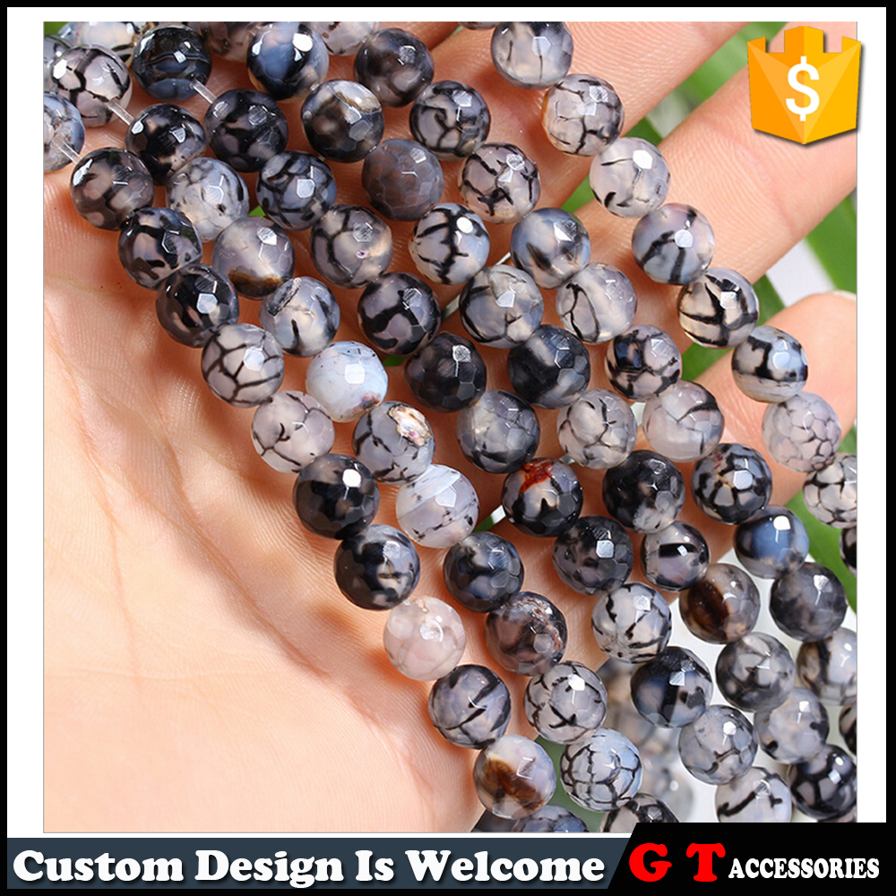 Manufacture 8mm Natural Dragons Vein Agate Faceted Beads Loose Agate Gemostone Bead SemiPrecious <strong>Stone</strong>