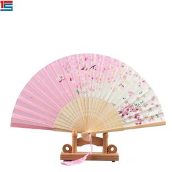 Chinese style beautiful silk fabric bamboo folding hand fan