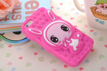 3D Funny Shy Rabbit Soft Silicone Case Cover Skin for iPhone 5