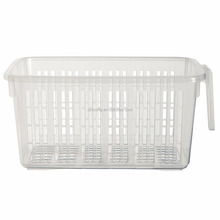 Custom Medium Clear Caddy Basket with Handle Cheap Plastic Handy Basket Storage Vegetable Fruit Cupboard Kitchen Pantry Fridge