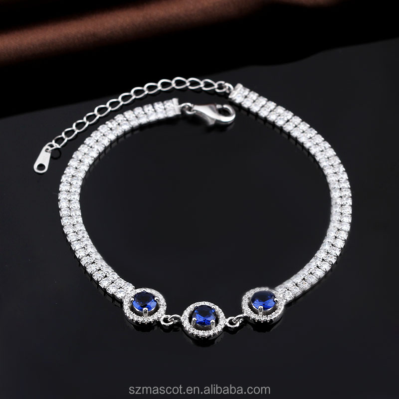 Unisex Round Blue Simulated Sapphire 18K White Gold Plated Silver Bracelet