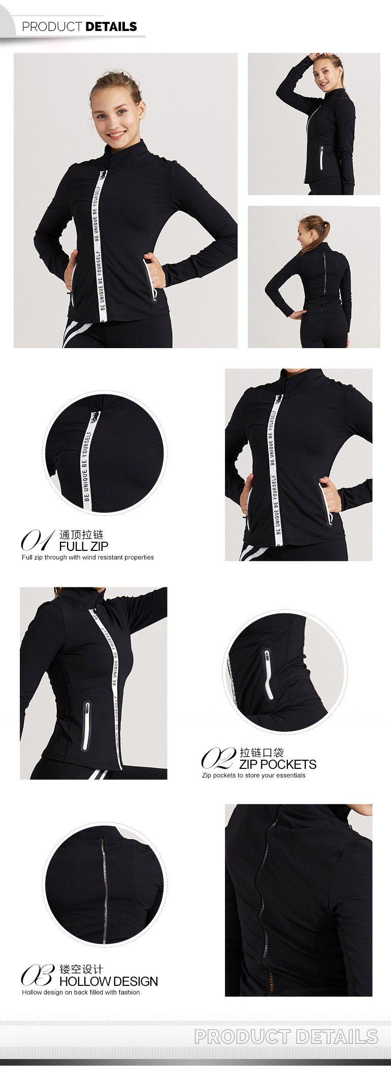 New Design Manufacturers Fashion Ladies Running Jackets Active Zippers Jackets