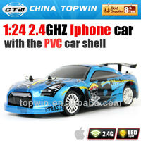 1:24 2.4GHZ I-phone controled rc car rc toy mitsubishi model toy with the PVC car shell