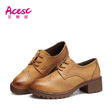 Rubber Soles Upper Smooth Leather Women Shoes Casual