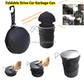 Newly mini foldable watperoof anti-oil nylon cloth Drive Car Garbage Can with hook for Litter Waste Basket Liners Cigarette case