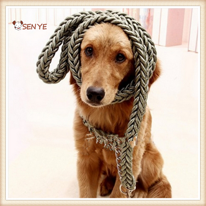 Adjustable Nylon Braided Rope Dog Collar And Leash For Large Dogs