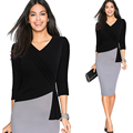 V-neck Office Sheath Fitted Pencil Dress L36156