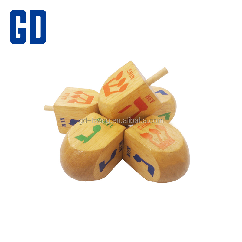 35x35x50mm Hebrew alphabet wooden dreidel spinning top