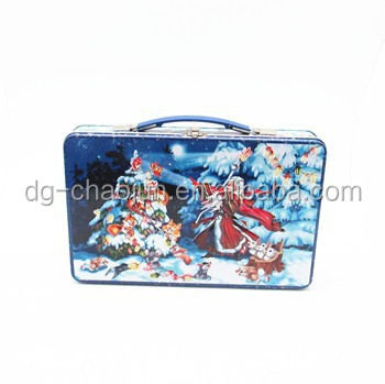 customized design lunch box tin with handle and lock rectangle tin lunch box with ISO certified