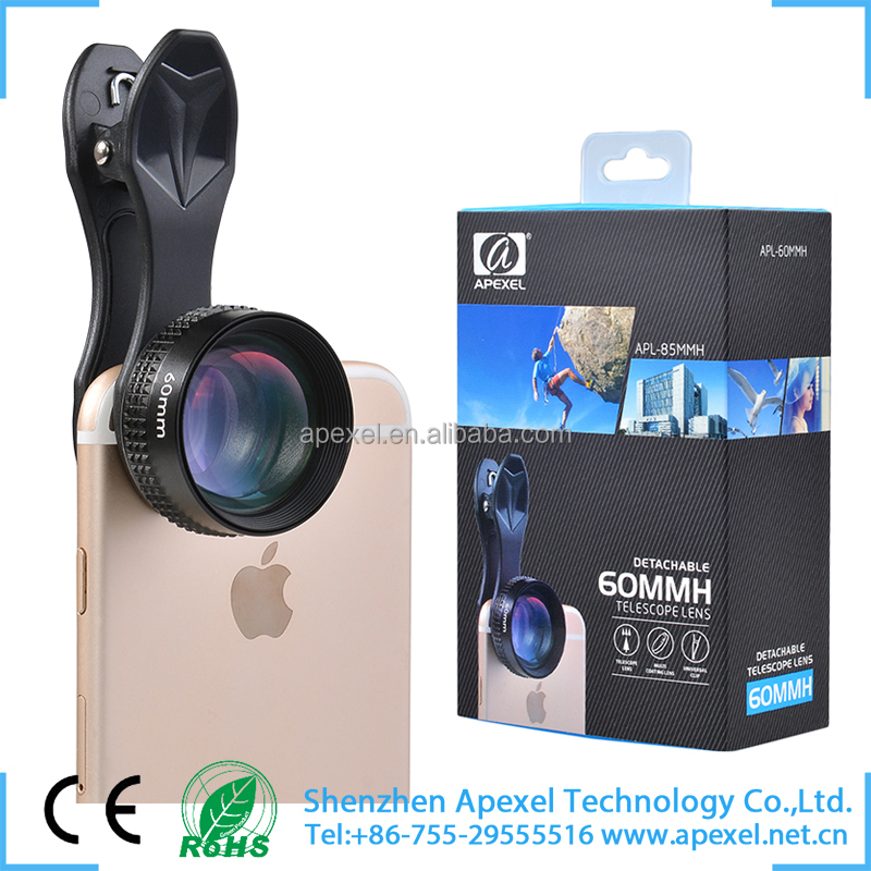 hottest digital camera spare parts universal clip-on 2x telescope mobile cover camera lens