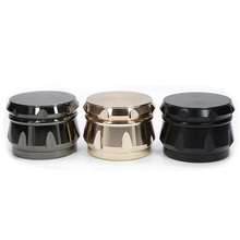 4 Part Zinc Alloy Diamond Shape Drum-shape Chamfer Side Concave weed tobacco spice Herb Grinder