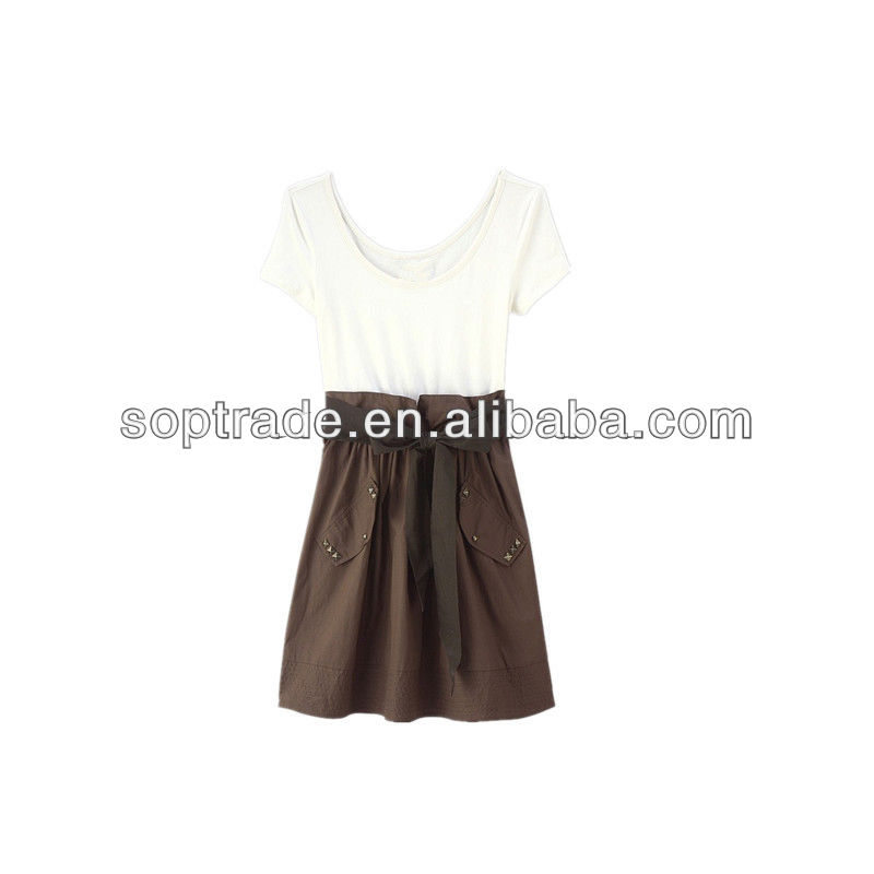 Woman sexy casual trimmed sash minidress