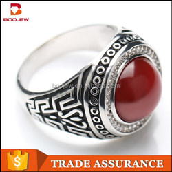 2015 newest red agate stone 925 silver ring designs for men